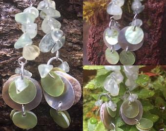 Prehnite with Epidote White Shell Earrings