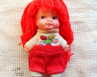 1975 U.D. Co. Inc. Pee Wee Doll with Long ReD Yarn Hair- Uneeda PeeWee- Peewee Doll with Original Clothes- Balloons- Tiny Doll- Mini Doll