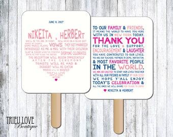 Personalized Sweetheart Wedding Ceremony Program Fan - Digital File