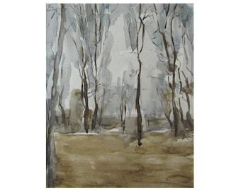 Autumn. Landscape with trees - original watercolor
