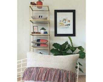 Orange Fringe Tassel Pillow Cover in Natural Linen - Hand Knotted Accent Pillow by JillianReneDecor - Modern Home Decor - Boho Chic