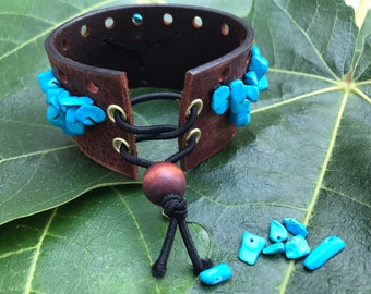 Brown Leather Cuff with Turquoise Stones and Corset Tie