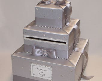 Silver Wedding Card Box -Rhinestone accents
