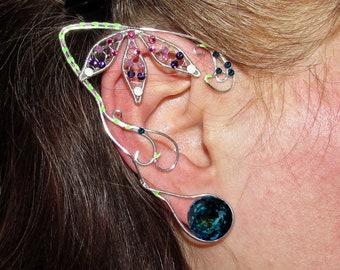 Bejeweled ears for Neytiri costume, Pandora inspired ear jewelry, Avatar inspired jewelry, Na'vi cosplay, fantasy, elf ears, fairy ears