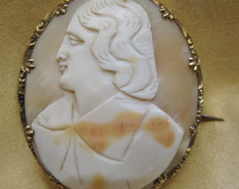 Early Victorian Cameo Brooch Carved Shell Male Figure Large