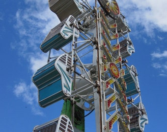 Zipper Carnival Ride, Digital Download Photography, Blue Sky White Clouds Summer Colorful Photo, DIY Home Decor, Instant Download