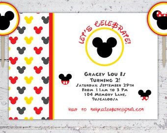 Mickey And Minnie Mouse Birthday Invitation And Cupcake Rounds | Print-It-Yourself | Digital Download | Printable | Custom Invitation