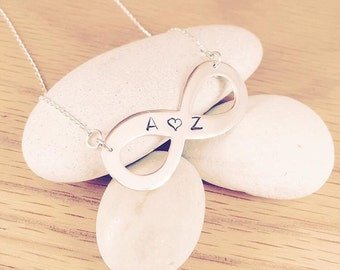 Personalised Infinity Necklace Sterling Silver Hand Stamped