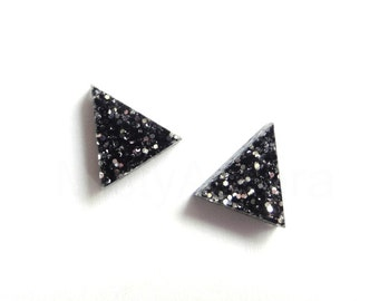 Black Glitter Earrings, Triangle Stud Earrings, Glitter Jewelry, Sparkly Studs, Pyramid Geometric Jewelry, Black Gothic Jewelry  (E240)