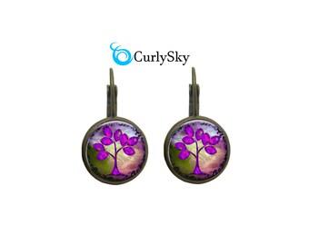 Purple Earrings Tree of Life Dangle Earrings Tree of life Jewelry Purple Tree Earrings Purple Tree Dangle Earrings Tree Life Earrings