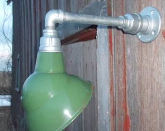 """Relektrik™ Vintage Barn 8"""" Emblem Shade Green Porcelain Wall Mount Gas Station Industrial Warehouse Light"""