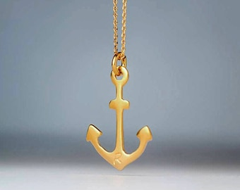 Solid Gold Anchor Necklace Personalized Anchor Pendant Gift for Her Anniversary birthday Rose gold bridal Dainty necklace Bridal Gift