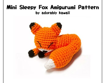 Mini Sleepy Fox Amigurumi Pattern, Fox Plush Pattern, Small Fox Nursery Toy, DIY Pattern, Crochet Amigurumi Pattern, Sleepy Fox Doll Pattern