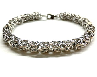Cool Mens Bracelet. Silver Chain Bracelet. Chainmaille Jewelry. Metal Chainmail Bracelet. Unisex Bracelet. Byzantine Bracelet. Gift for Him.