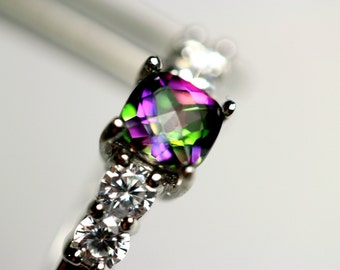 CLEARANCE  Glamorous Genuine Mystic Topaz Square in an Accented Sterling Silver Setting