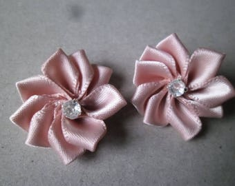 Pink x 2 lace flower embellishments with Rhinestones 33 mm