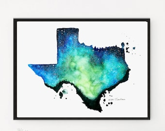 Texas art, Texas decor, Texas map, State map art, State art print, State gifts, Watercolor state map, Long distance art, Texas wall art,
