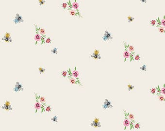Bee Fabric - Bees & Bits Spring Fabric - Art Gallery Millie Fleur - Bari J - Bee Floral Vintage  Fabric - Insect Floral - Garden Farm