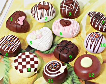 A dozen of faux fake chocolate candy truffles for centerpiece  of party decor or special gift