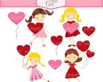ON SALE girl clip art - valentine's day clip art, heart clip art, digital scrapbook, INSTANT Download clip art, wedding, engagement