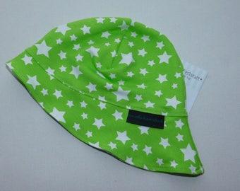 Sun hat for babies, stars Lemongrün