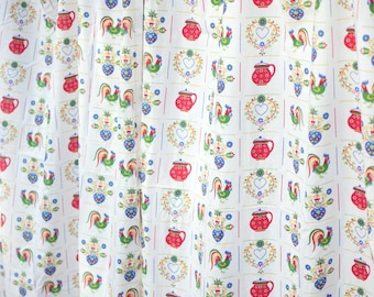 Rooster Kitchen Curtains with Pots, Hearts and Floral Designs, Set of 2 Retro 1960s 1970s Curtains