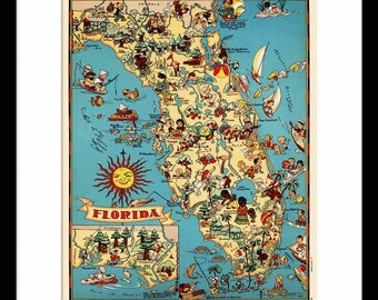 Florida Map - Map of Florida - Vintage Map - Print - Poster - Wall Art - Home Decor