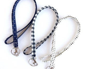 black and navy fabric lanyard, ID badge holder, long keychain, student or teacher gift, graduation gift, lanyard with swivel clip