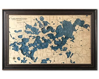 Lake Minnetonka Dimensional Wood Carved Depth Contour Map - Customize With Your Home Information