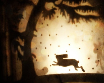 """Surreal Woodland Photo """"Rabbit Leaps the Moon"""" Collage Photo - Fairy Tale Art - Dreamy Forest - Fine Art Photography - Animal Silhouette"""