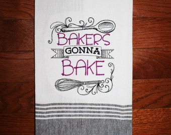 bakers gonna bake kitchen towel bridal shower gift baker towel funny kitchen towel - Bakers Gonna Bake Kitchen Redwork Embroidery Designs