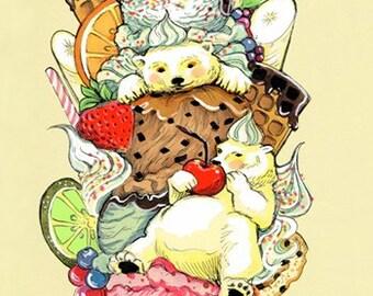 Polar Bear Sundae Dream 8.5x11 Art Print