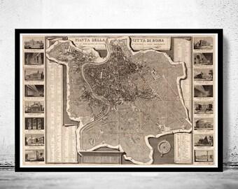 Vintage Map of Rome Roma, Italia 1843 Antique map of Rome