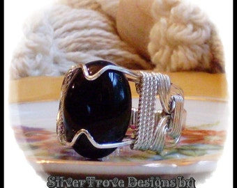 Black Onyx Ring Sterling Silver Oval Cabochon Ring Any Size Wire Wrapped Argentium