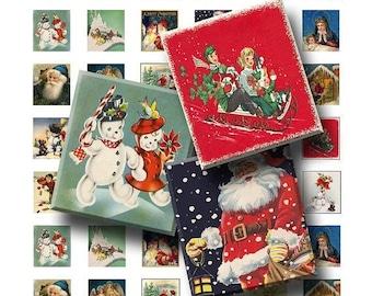 50% Off Sale - Vintage Christmas - Digital Collage Sheet   - .75 x .83 Scrabble Size - INSTANT DOWNLOAD