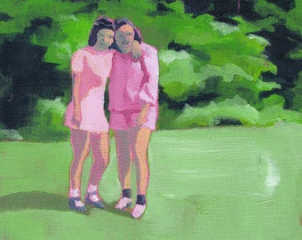 Best Friends - Original Acrylic Painting of 2 friends sisters in a landscape vintage 50's