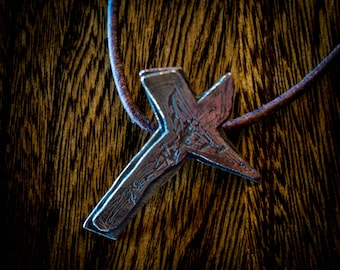 Crucifix, Cross pendant. Handmade engraved and antiqued copper..
