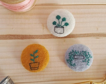 Set of house plant badges - string of pearls pin - pilea - botanical embroidery