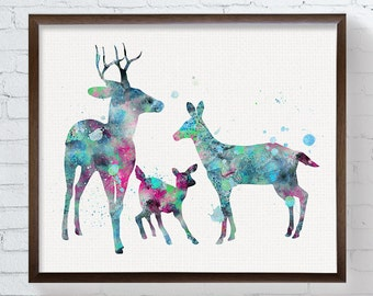 Doe, Buck, Fawn, Family, Watercolor Deer, Deer Art Print, Nursery Wall Art, Kids Room Decor, Childrens Room Decor, Baby Shower Gift, Nursery