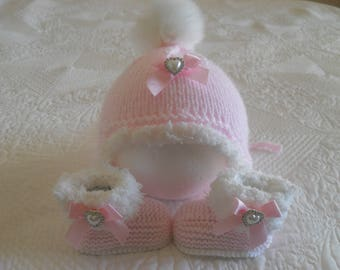 Knitted  Baby Girl Hat And Booties, Baby Girl Fur Pom Pom Hat and Boots, Size Newborn 0 to 3  Months Ready Made