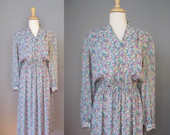 Floral Secretary Dress / Vtg 80s / Leslie Fay Surplice front Secretary Dress / Shirt Dress / Teal Yellow dress