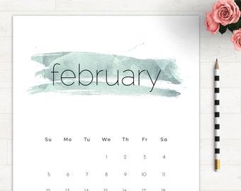 2017 Pastel Wall Calendar Letter • 2017 Calendar Watercolor 2017 Calendar Colorful Printable Wall Calendar Minimalist 2017 Monthly Calendar
