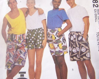 Four sizes available, Boxer shorts, mens, womens, teens, McCalls 5982 UnCut sewing pattern, craft supplies