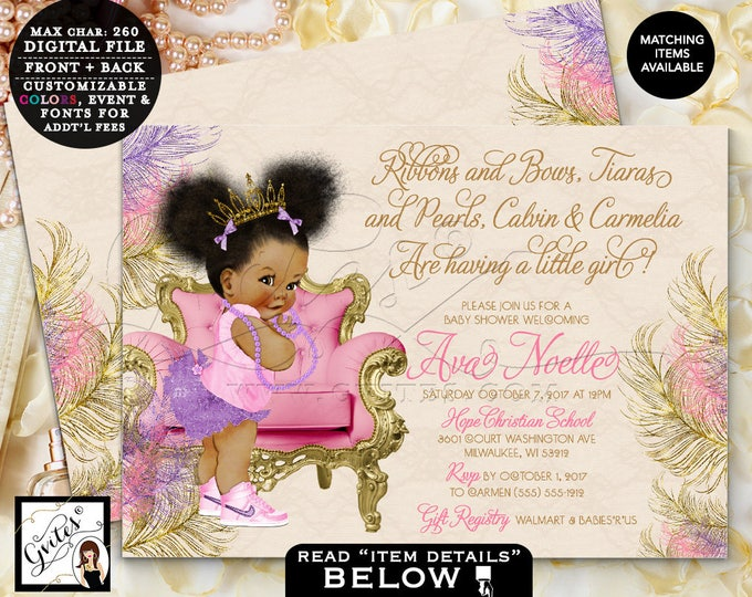 Gold Pink and Purple Baby Shower Invitation, Ribbons and Bows, Tiaras and Pearls, Vintage, Afro Puffs, Baby Invites, 7x5 Double Sided