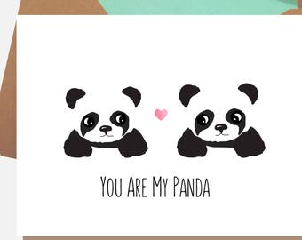 Panda birthday card etsy panda card you are my panda cute anniversary card panda birthday card bookmarktalkfo Image collections