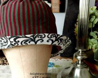 Rayure vert violet coton Cloche Hat_Contrasting bord