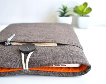 """11.6"""" Chromebook Case Samsung, Asus, Acer Chromebook Sleeve 13"""", 15"""" Custom Size Padded Cover - Brown and Orange"""