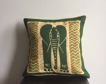 African Pillow, Green Handmade Pillow, Tribal Pillow, Decorative Pillow, Sadza Batik, Elephant Pillow, Safari Cushion Cover, Animal Pillow