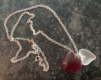Two Glass Hearts, Red & White, Together on a Silver Chain