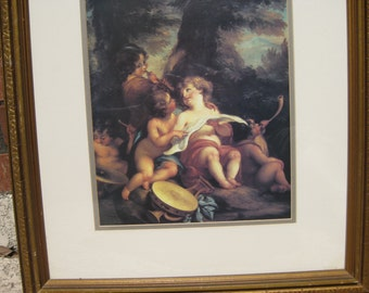 Vintage Print of ANGELS or CHERUBS Playing Instruments and Looking at Music Notes on Paper!